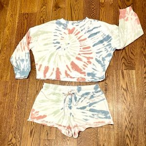Z Supply Tie Die Sweatshirt & Short Set